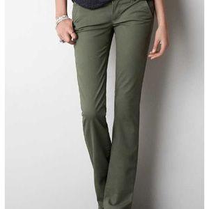 AEO Olive Green Kick Boot Slacks Size:14